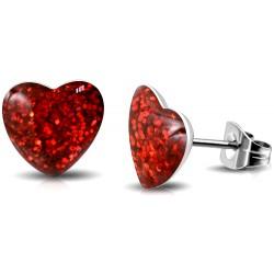 Kinder Ohrstecker Herz Glitter-Kristall