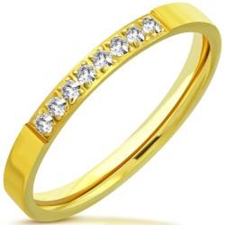 Edelstahl Ring mit Zirkonias