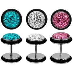 Edelstahl Fake Plug Tunnel mit Glitter-Kristallen+Gummiring