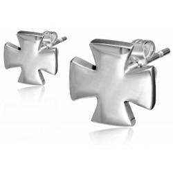Edelstahl Ohrstecker Kreuz
