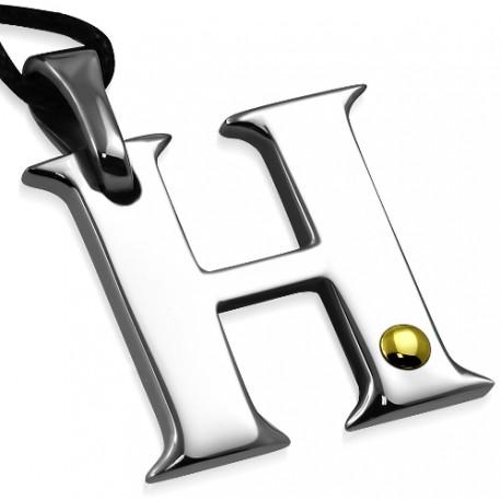 Edelstahl Kettenanhänger H mit 18K Gelbgold
