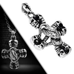 Edelstahl Kettenanhänger Totenkopf Kreuz