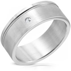 Edelstahl Ring mit Zirkonia