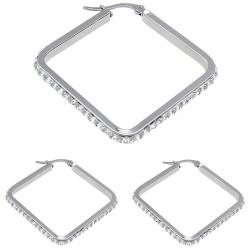 Edelstahl Creolen Quadrat mit Kristallen