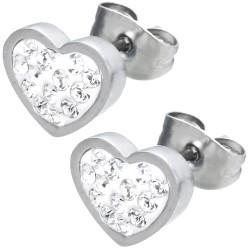 Edelstahl Ohrstecker Herz mit Kristallen